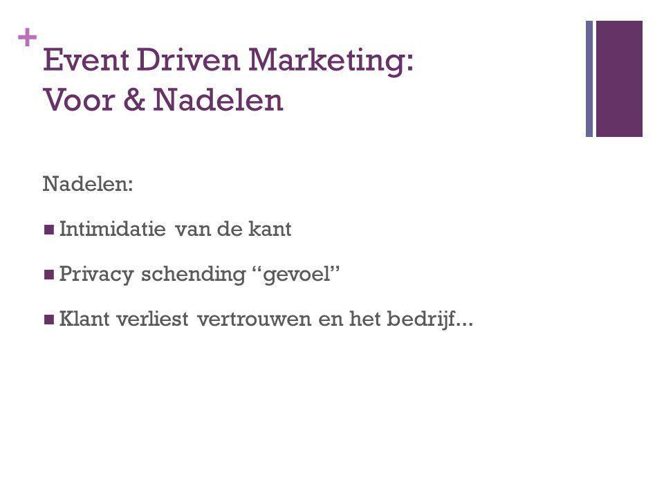 + Event Driven Marketing: Voor & Nadelen Nadelen: Intimidatie van de kant Privacy schending gevoel Klant verliest vertrouwen en het bedrijf...