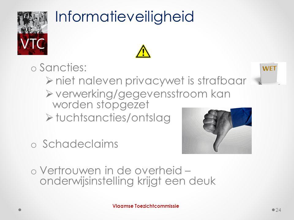o Sancties:  niet naleven privacywet is strafbaar  verwerking/gegevensstroom kan worden stopgezet  tuchtsancties/ontslag o Schadeclaims o Vertrouwe