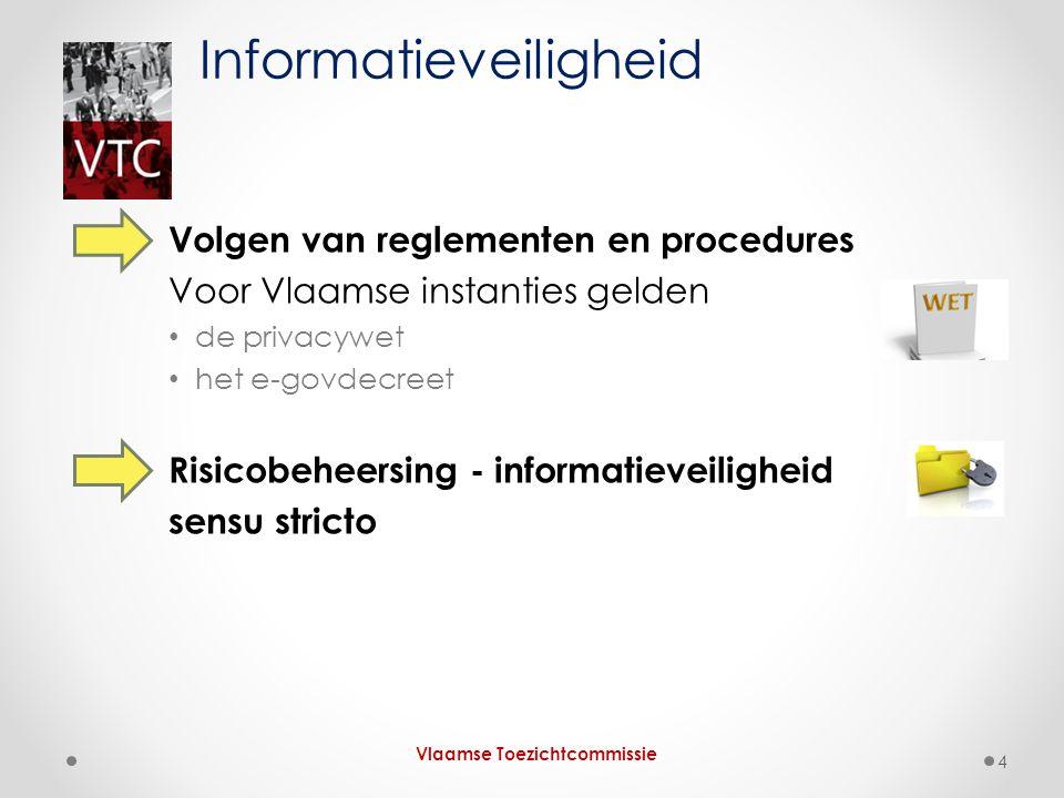 Volgen van reglementen en procedures Voor Vlaamse instanties gelden de privacywet het e-govdecreet Risicobeheersing - informatieveiligheid sensu stric