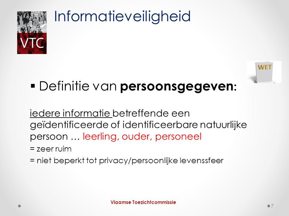  Definitie van persoonsgegeven : iedere informatie betreffende een geïdentificeerde of identificeerbare natuurlijke persoon … leerling, ouder, person