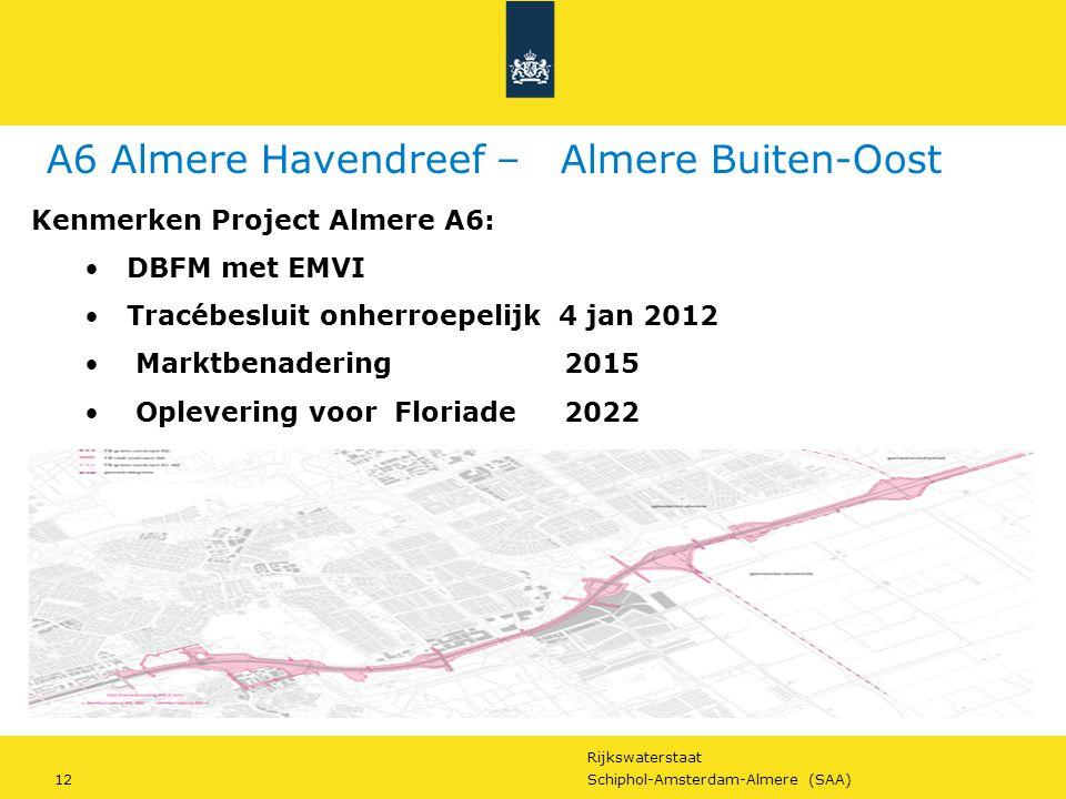 Rijkswaterstaat 12Schiphol-Amsterdam-Almere (SAA) Kenmerken Project Almere A6: DBFM met EMVI Tracébesluit onherroepelijk 4 jan 2012 Marktbenadering 20
