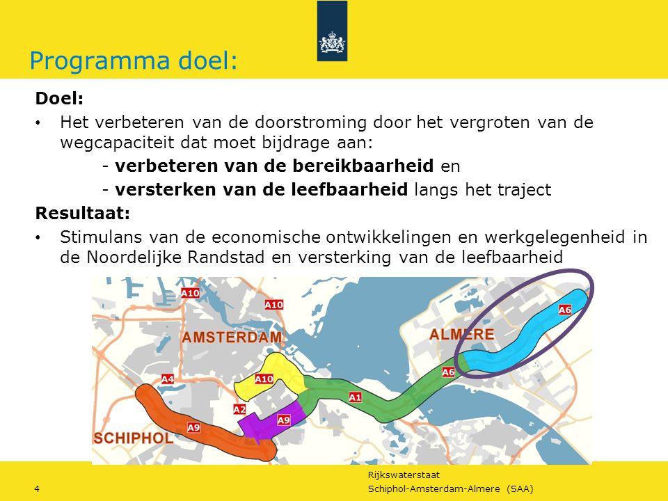 Rijkswaterstaat 4Schiphol-Amsterdam-Almere (SAA) Programma doel: Doel: Het verbeteren van de doorstroming door het vergroten van de wegcapaciteit dat