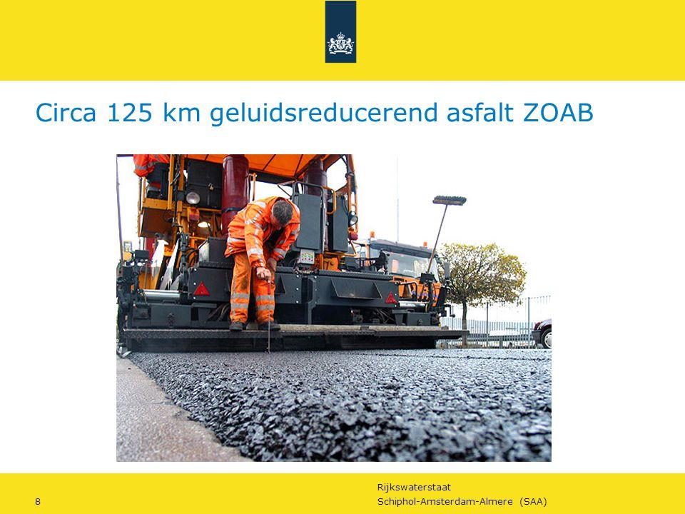 Rijkswaterstaat 8Schiphol-Amsterdam-Almere (SAA) Circa 125 km geluidsreducerend asfalt ZOAB
