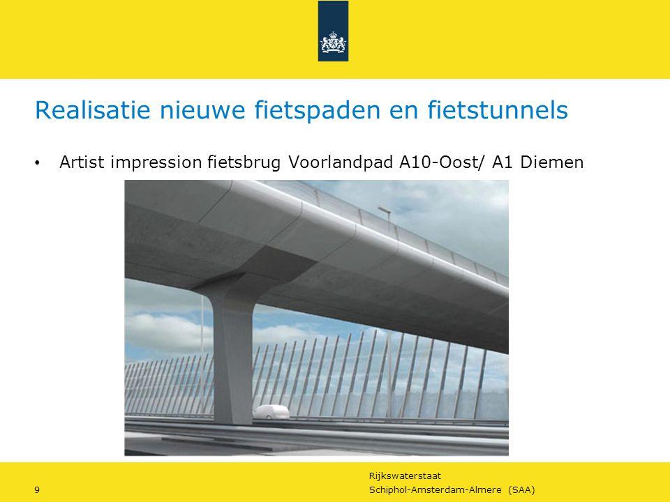 Rijkswaterstaat 9Schiphol-Amsterdam-Almere (SAA) Realisatie nieuwe fietspaden en fietstunnels Artist impression fietsbrug Voorlandpad A10-Oost/ A1 Die