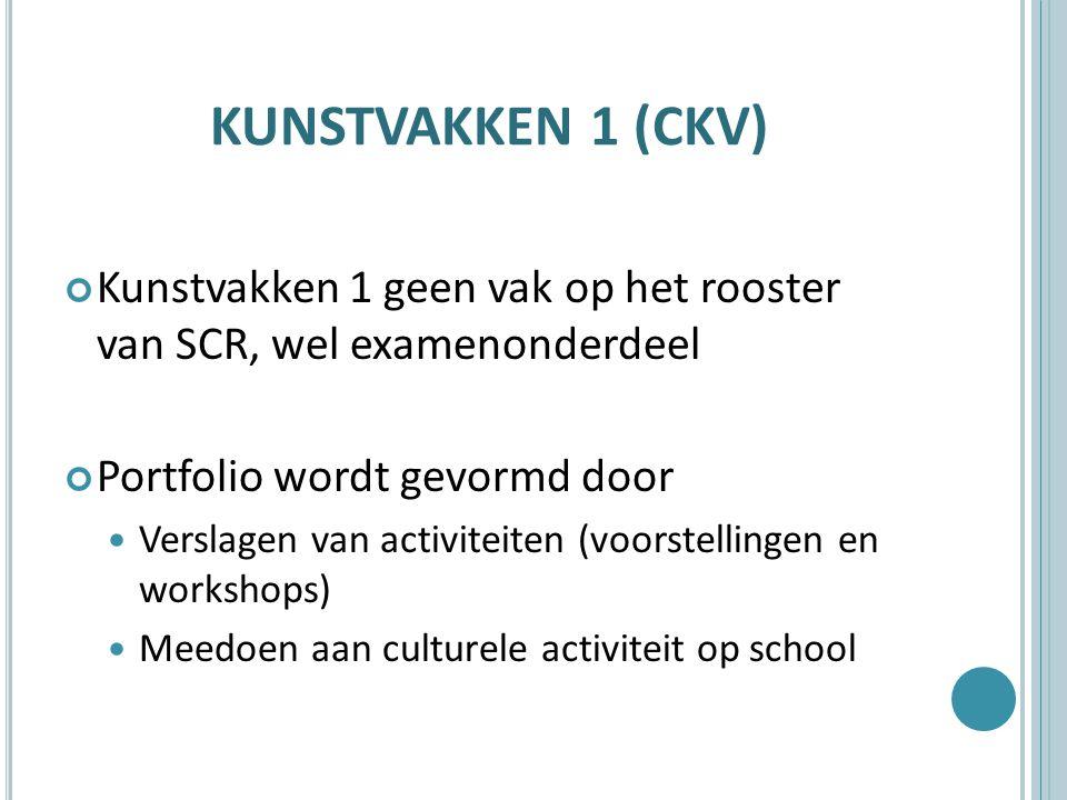 KUNSTVAKKEN 1 (CKV) Kunstvakken 1 geen vak op het rooster van SCR, wel examenonderdeel Portfolio wordt gevormd door Verslagen van activiteiten (voorstellingen en workshops) Meedoen aan culturele activiteit op school