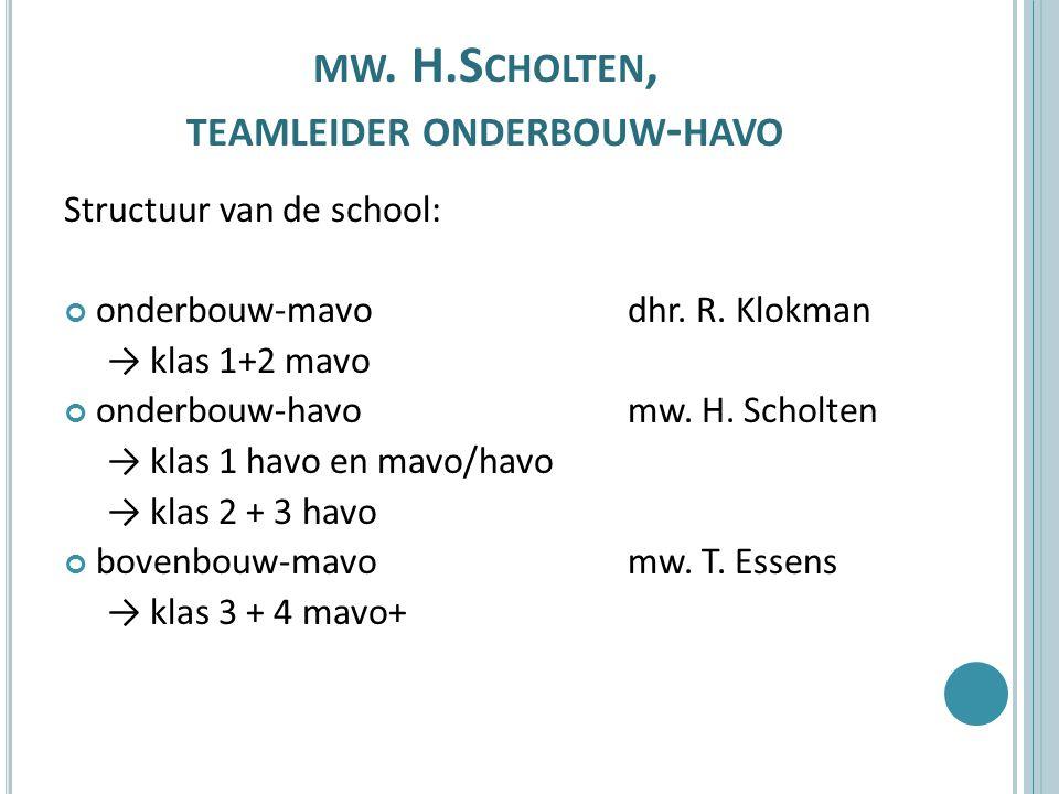 MW. H.S CHOLTEN, TEAMLEIDER ONDERBOUW - HAVO Structuur van de school: onderbouw-mavo dhr.