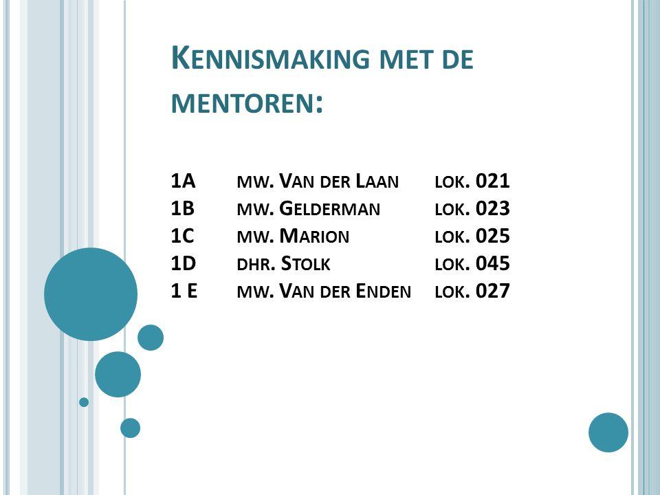 K ENNISMAKING MET DE MENTOREN : 1A MW. V AN DER L AANLOK.