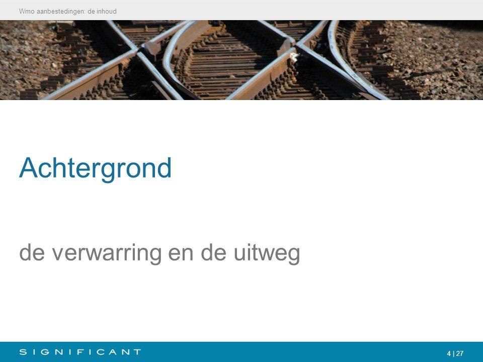 5   27 De verwarring ' www.invoeringwmo.nl en VWS: Wmo moet aanbesteed wordenwww.invoeringwmo.nl Maar: Weerstand groeit bij aanbieders en cliënten en politiek 'Eigen procedures' bedacht Plus: Wetsvoorstel Kant (SP): schrap aanbestedingsplicht voor Wmo EU Commissie: ook voor Wmo gelden aanbestedingsregels (BAO) EU Parlement: aanbestedingsplicht in sociale sector is doorgeschoten Achtergrond