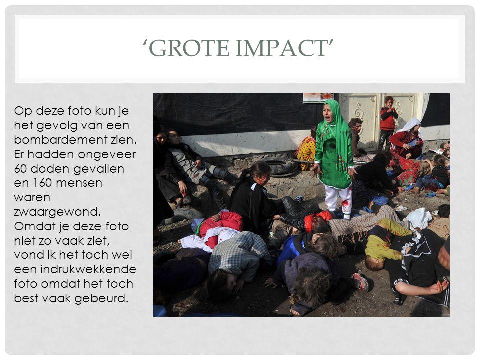 'GROTE IMPACT' Op deze foto kun je het gevolg van een bombardement zien.