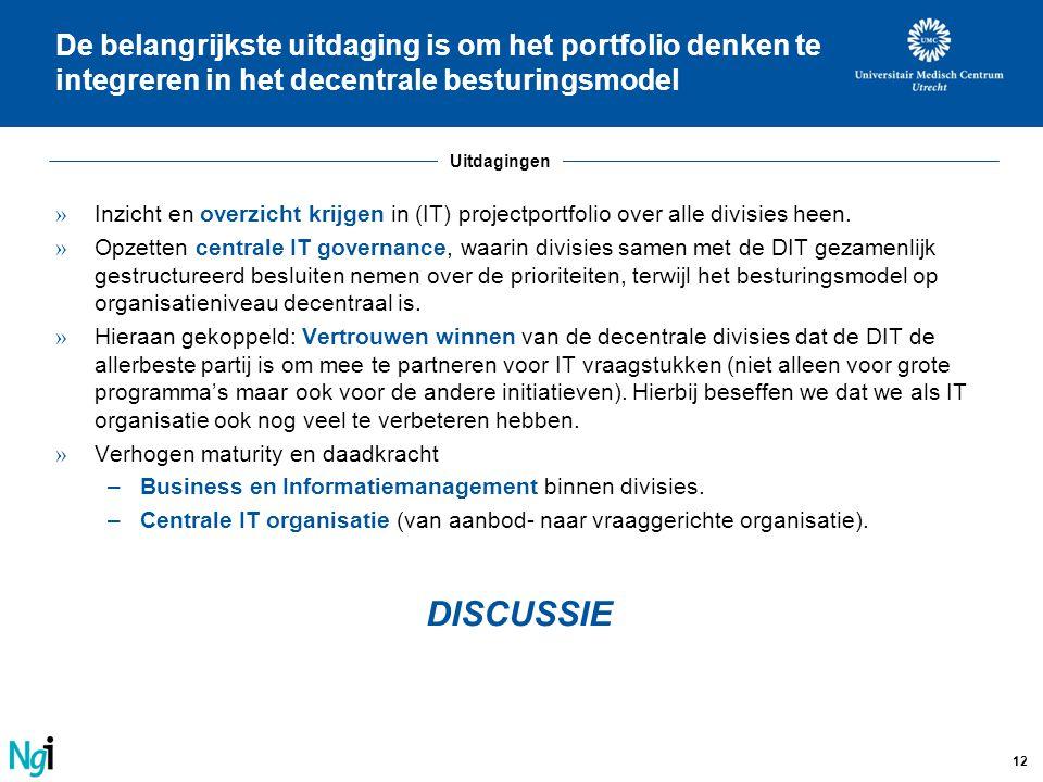 12 De belangrijkste uitdaging is om het portfolio denken te integreren in het decentrale besturingsmodel » Inzicht en overzicht krijgen in (IT) projec