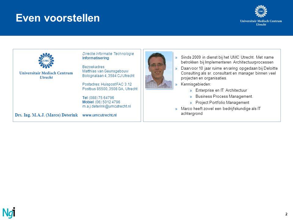 2 Drs. Ing. M.A.J. (Marco) Deterink Directie Informatie Technologie Informatisering Bezoekadres: Matthias van Geunsgebouw Bolognalaan 4, 3584 CJ Utrec