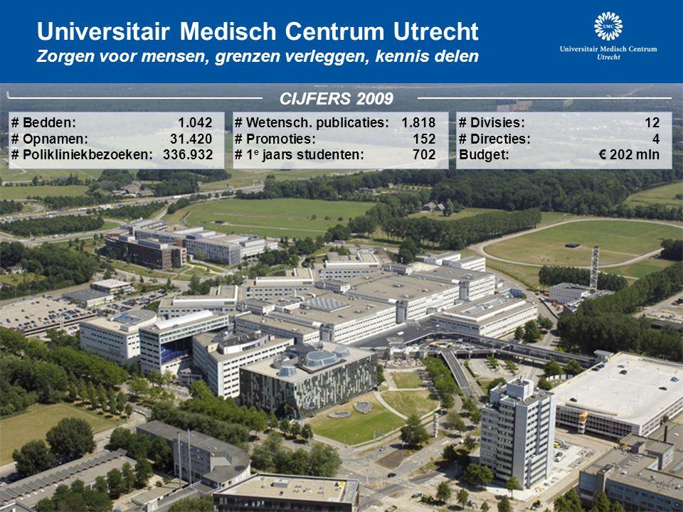3 Universitair Medisch Centrum Utrecht Zorgen voor mensen, grenzen verleggen, kennis delen # Bedden: 1.042 # Opnamen:31.420 # Polikliniekbezoeken:336.