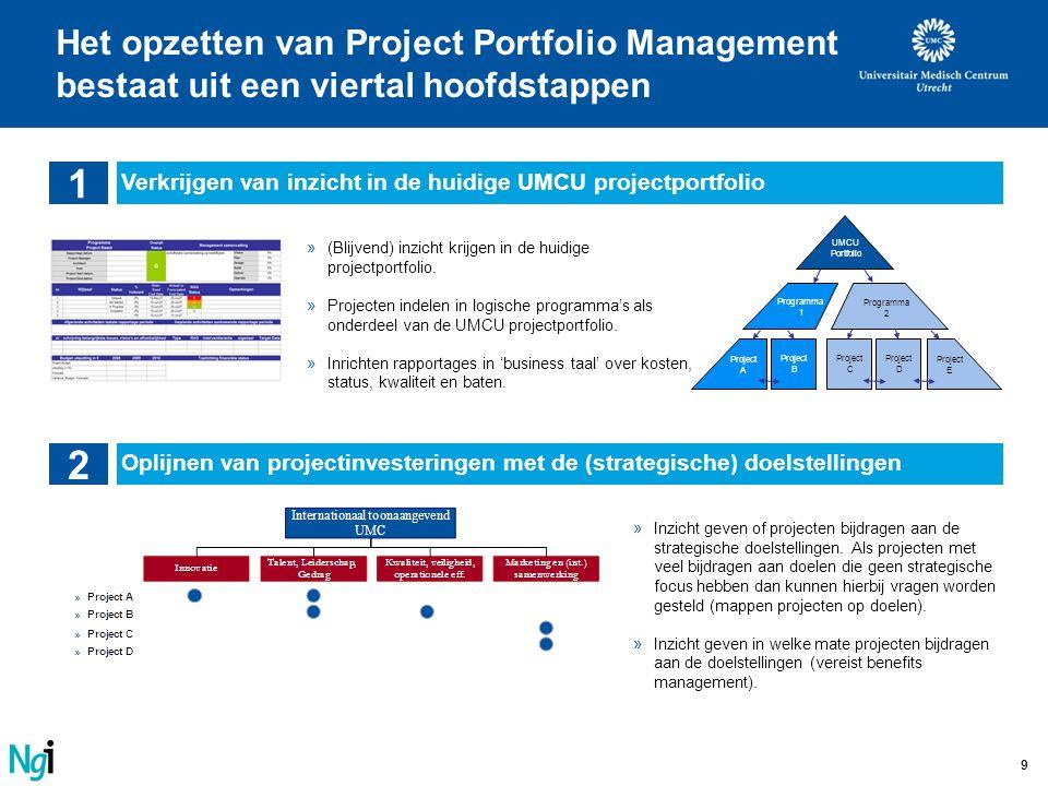 9 Het opzetten van Project Portfolio Management bestaat uit een viertal hoofdstappen 1 Verkrijgen van inzicht in de huidige UMCU projectportfolio 2 Op