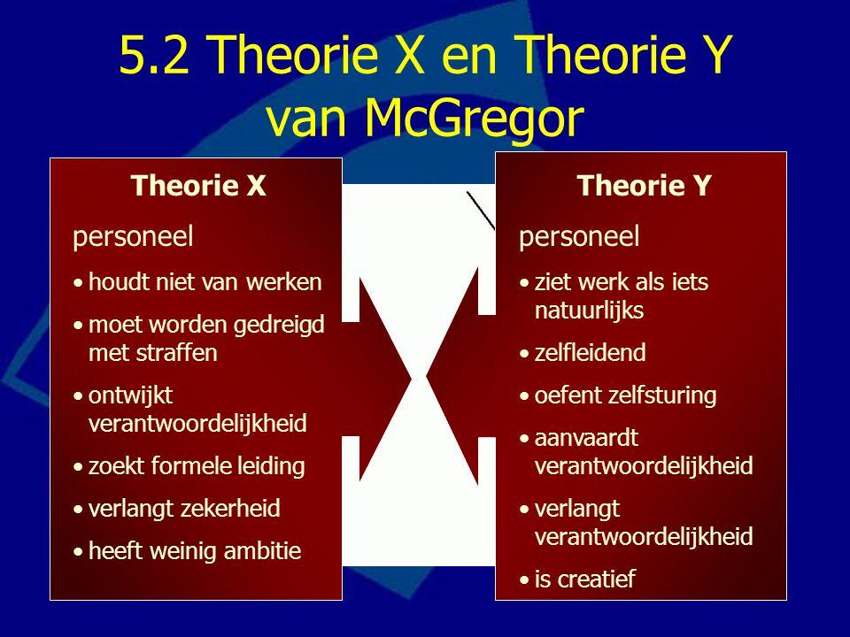 5.2 Theorie X en Theorie Y van McGregor Theorie X personeel houdt niet van werken moet worden gedreigd met straffen ontwijkt verantwoordelijkheid zoek