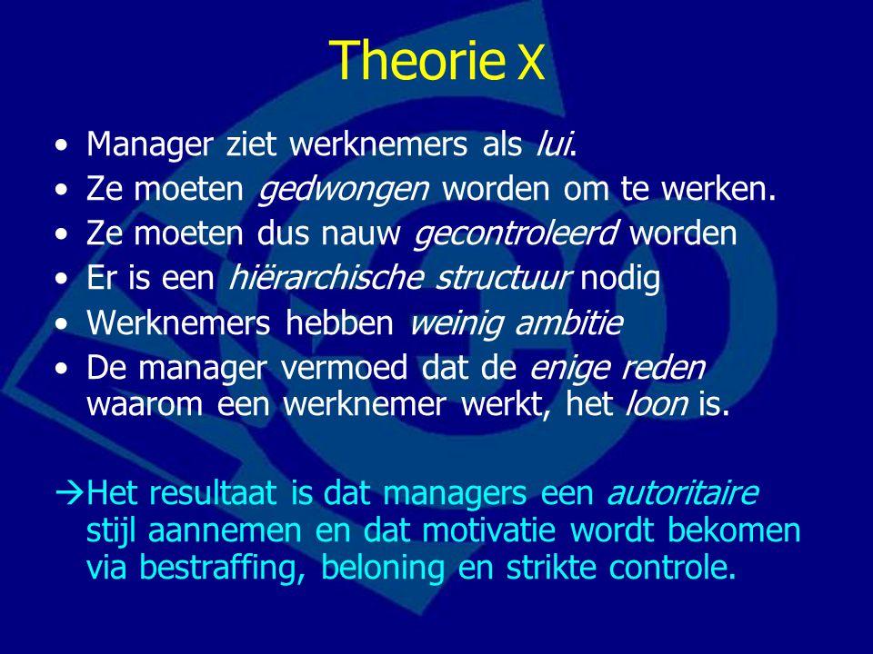 Theorie X Manager ziet werknemers als lui. Ze moeten gedwongen worden om te werken. Ze moeten dus nauw gecontroleerd worden Er is een hiërarchische st