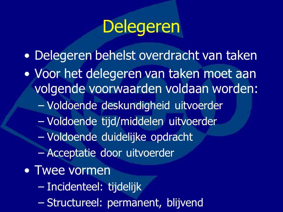 Delegeren Delegeren behelst overdracht van taken Voor het delegeren van taken moet aan volgende voorwaarden voldaan worden: –Voldoende deskundigheid u