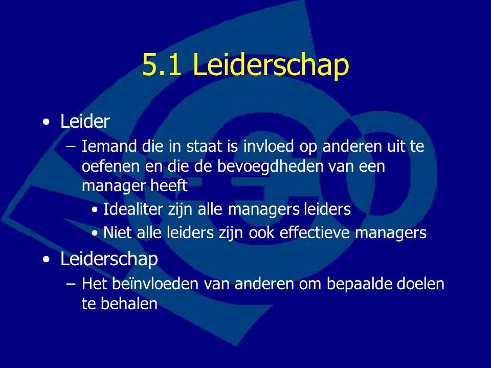 5.1 Leiderschap Leider –Iemand die in staat is invloed op anderen uit te oefenen en die de bevoegdheden van een manager heeft Idealiter zijn alle mana