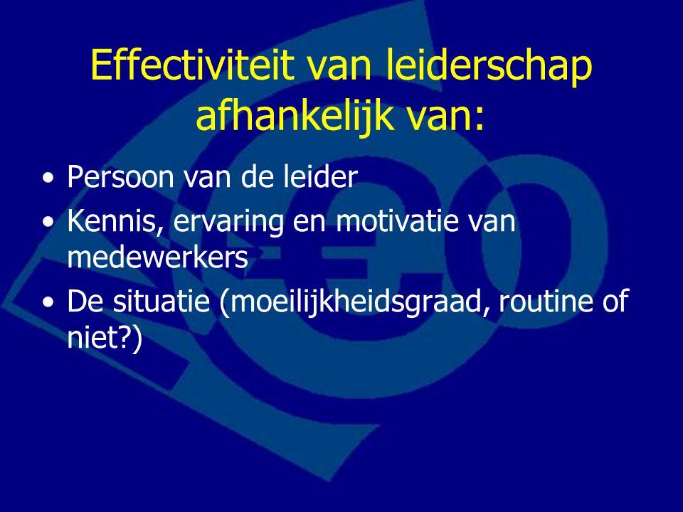 Effectiviteit van leiderschap afhankelijk van: Persoon van de leider Kennis, ervaring en motivatie van medewerkers De situatie (moeilijkheidsgraad, ro