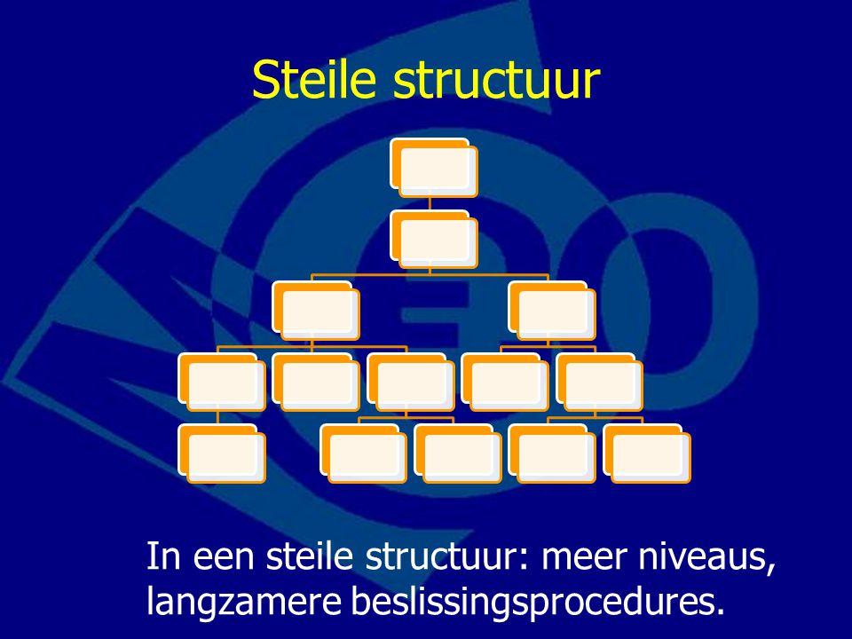 Steile structuur In een steile structuur: meer niveaus, langzamere beslissingsprocedures.