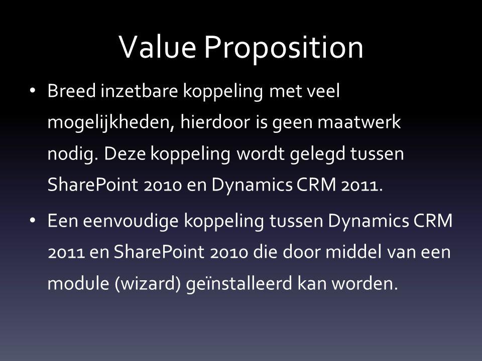 Value Proposition Breed inzetbare koppeling met veel mogelijkheden, hierdoor is geen maatwerk nodig.