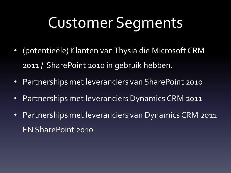 Customer Segments (potentieële) Klanten van Thysia die Microsoft CRM 2011 / SharePoint 2010 in gebruik hebben.