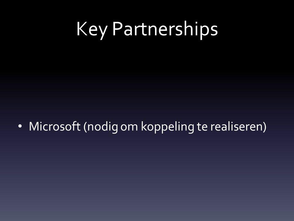Key Partnerships Microsoft (nodig om koppeling te realiseren)