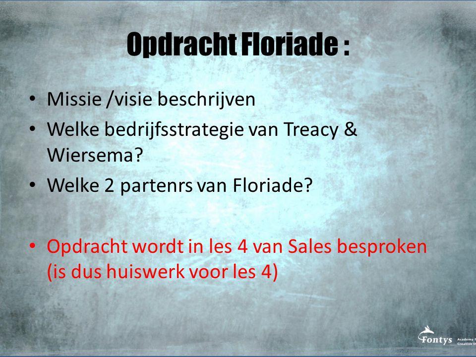 Opdracht Floriade : Missie /visie beschrijven Welke bedrijfsstrategie van Treacy & Wiersema? Welke 2 partenrs van Floriade? Opdracht wordt in les 4 va