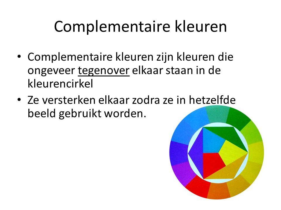 Complementaire kleuren Complementaire kleuren zijn kleuren die ongeveer tegenover elkaar staan in de kleurencirkel Ze versterken elkaar zodra ze in he
