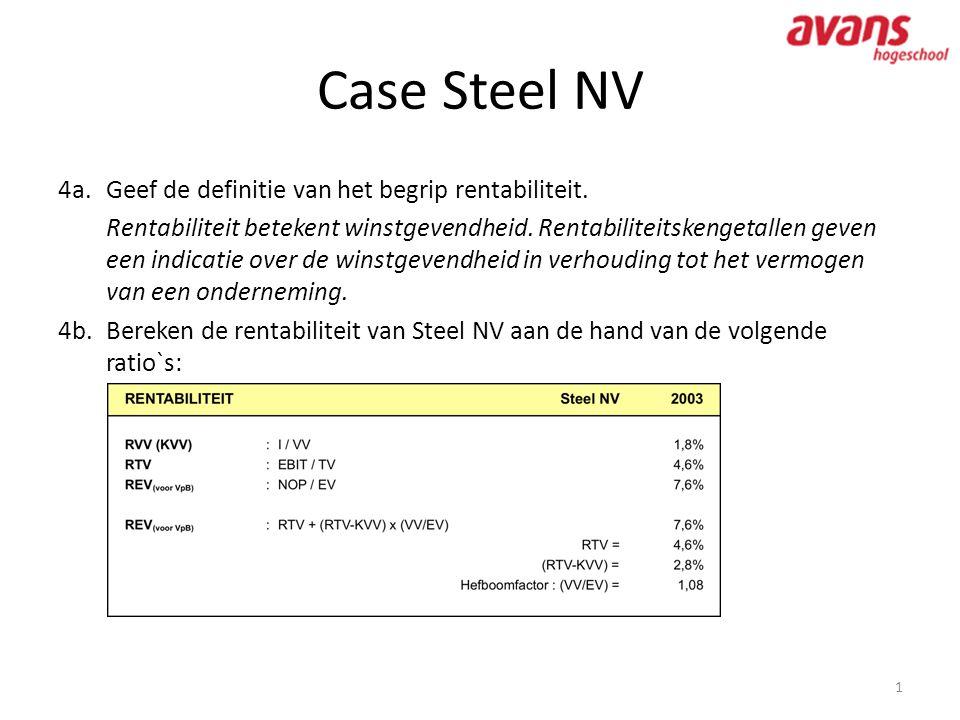 Case Steel NV 1 4a.Geef de definitie van het begrip rentabiliteit. Rentabiliteit betekent winstgevendheid. Rentabiliteitskengetallen geven een indicat