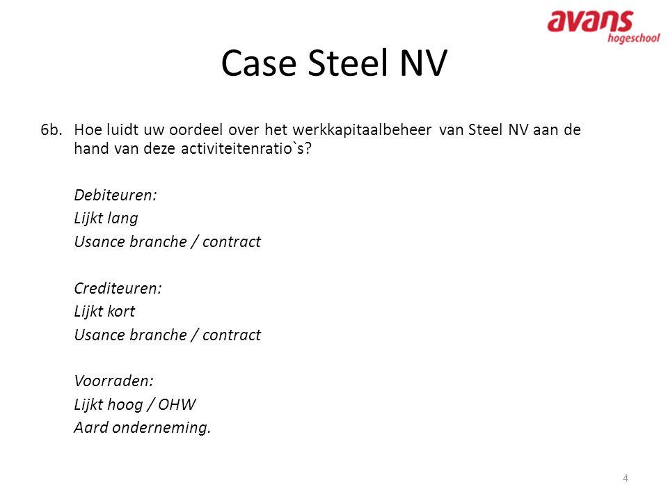 Case Steel NV 4 6b.Hoe luidt uw oordeel over het werkkapitaalbeheer van Steel NV aan de hand van deze activiteitenratio`s? Debiteuren: Lijkt lang Usan