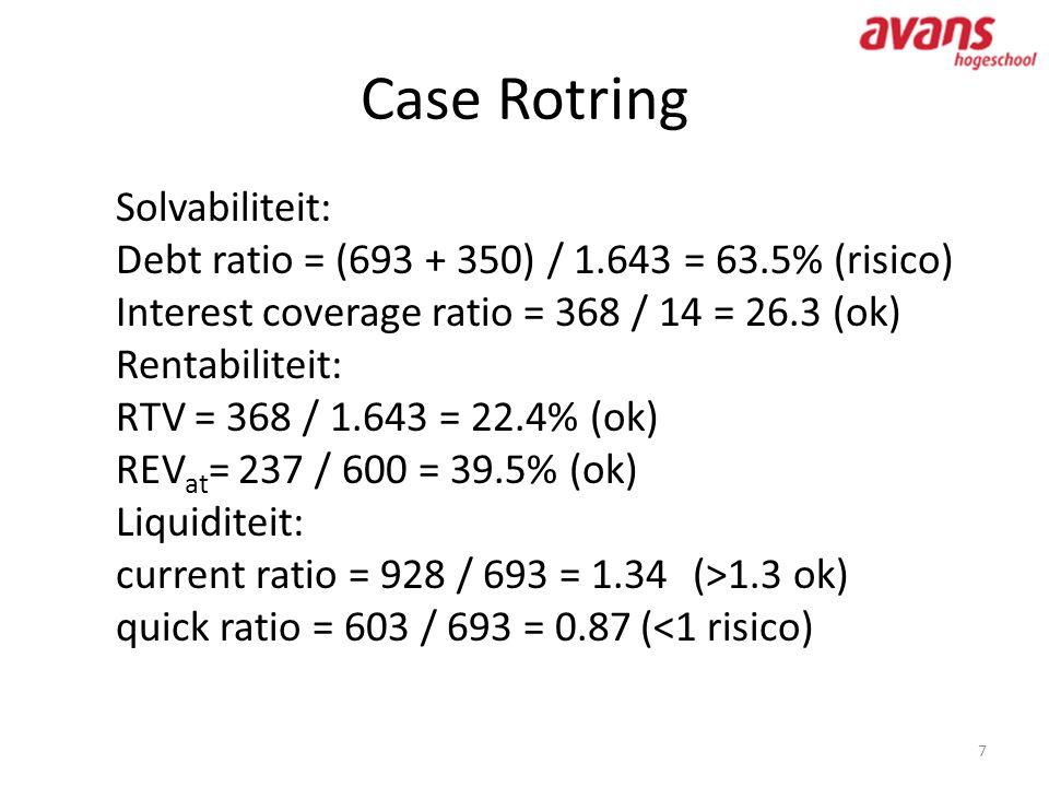 Case Rotring 7 Solvabiliteit: Debt ratio = (693 + 350) / 1.643 = 63.5% (risico) Interest coverage ratio = 368 / 14 = 26.3 (ok) Rentabiliteit: RTV = 36