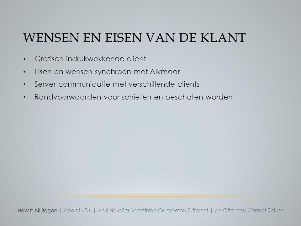 WENSEN EN EISEN VAN DE KLANT Grafisch indrukwekkende client Eisen en wensen synchroon met Alkmaar Server communicatie met verschillende clients Randvo
