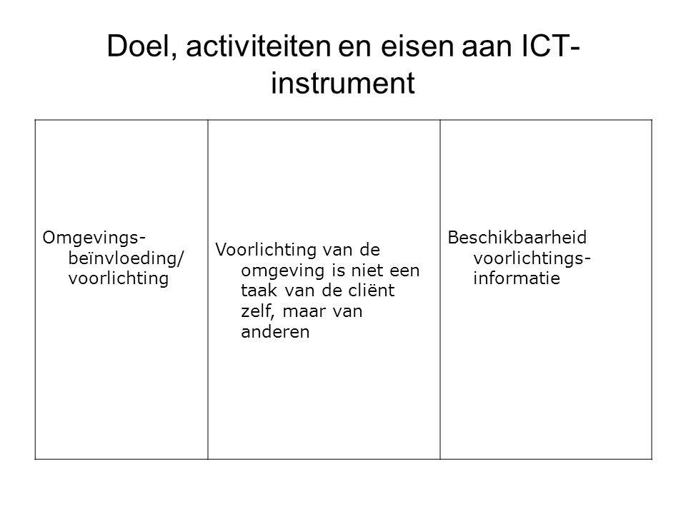 Doel, activiteiten en eisen aan ICT- instrument Omgevings- beïnvloeding/ voorlichting Voorlichting van de omgeving is niet een taak van de cliënt zelf, maar van anderen Beschikbaarheid voorlichtings- informatie