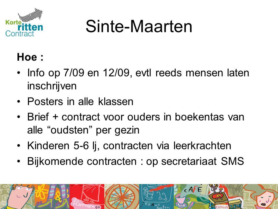Sinte-Maarten Hoe : Info op 7/09 en 12/09, evtl reeds mensen laten inschrijven Posters in alle klassen Brief + contract voor ouders in boekentas van alle oudsten per gezin Kinderen 5-6 lj, contracten via leerkrachten Bijkomende contracten : op secretariaat SMS