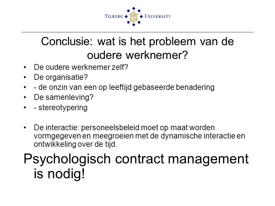 Conclusie: wat is het probleem van de oudere werknemer? De oudere werknemer zelf? De organisatie? - de onzin van een op leeftijd gebaseerde benadering