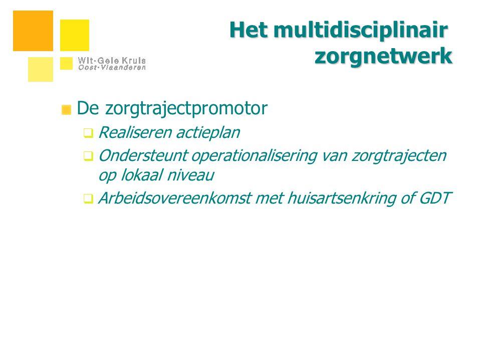 Het multidisciplinair zorgnetwerk De zorgtrajectpromotor  Realiseren actieplan  Ondersteunt operationalisering van zorgtrajecten op lokaal niveau 