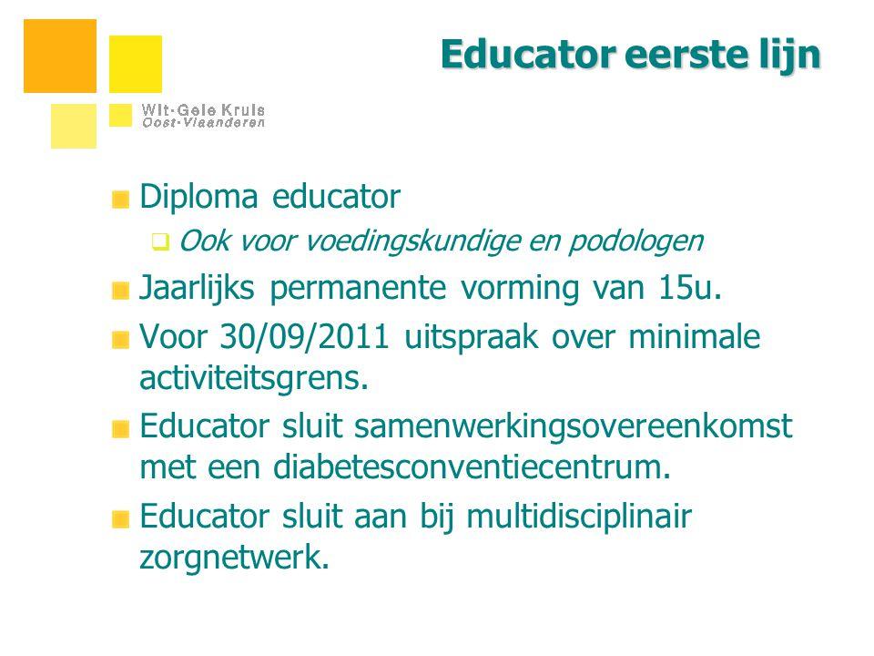 Educator eerste lijn Diploma educator  Ook voor voedingskundige en podologen Jaarlijks permanente vorming van 15u. Voor 30/09/2011 uitspraak over min