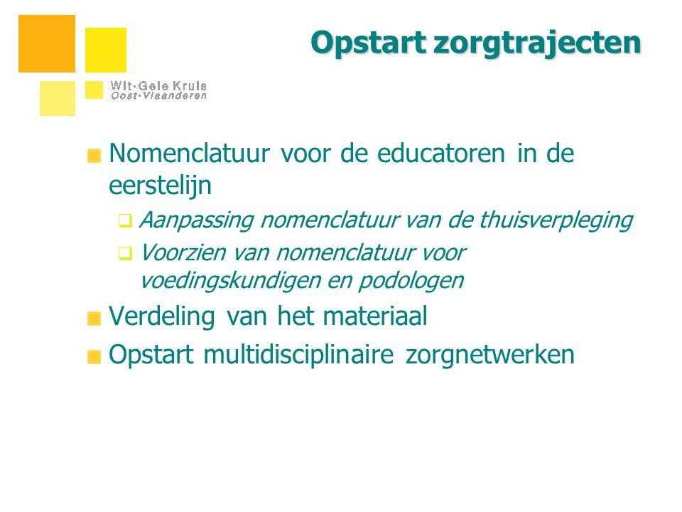 Opstart zorgtrajecten Nomenclatuur voor de educatoren in de eerstelijn  Aanpassing nomenclatuur van de thuisverpleging  Voorzien van nomenclatuur vo