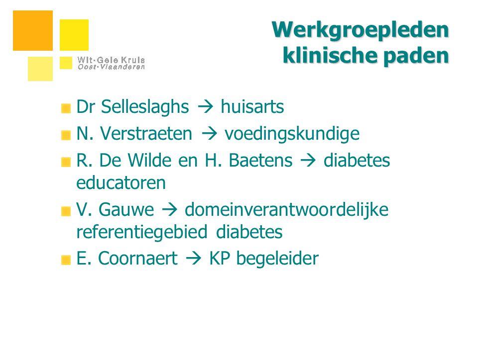 Werkgroepleden klinische paden Dr Selleslaghs  huisarts N. Verstraeten  voedingskundige R. De Wilde en H. Baetens  diabetes educatoren V. Gauwe  d