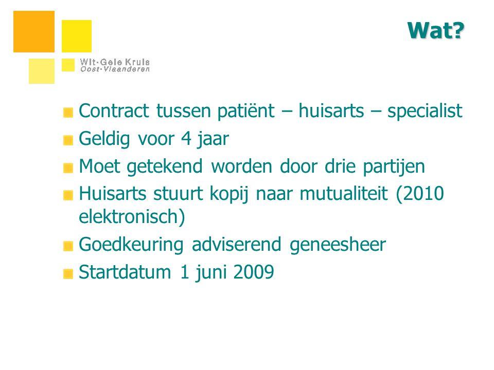 Wat? Contract tussen patiënt – huisarts – specialist Geldig voor 4 jaar Moet getekend worden door drie partijen Huisarts stuurt kopij naar mutualiteit