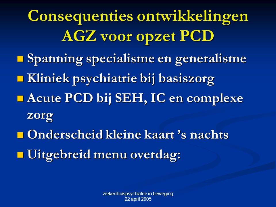 ziekenhuispsychiatrie in beweging 22 april 2005 Consequenties ontwikkelingen AGZ voor opzet PCD Spanning specialisme en generalisme Spanning specialis