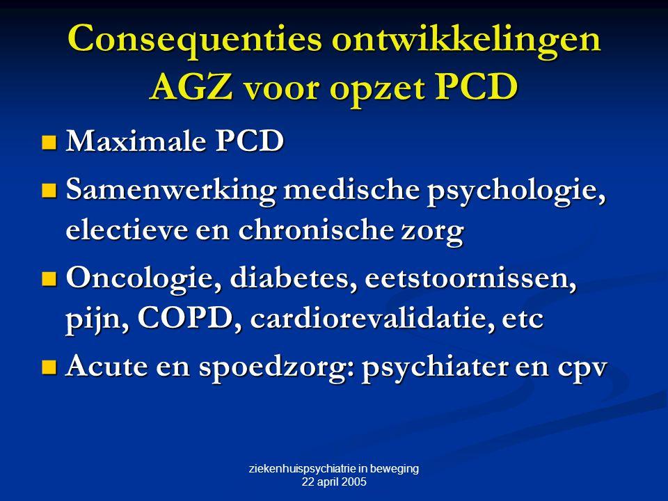 ziekenhuispsychiatrie in beweging 22 april 2005 Consequenties ontwikkelingen AGZ voor opzet PCD Maximale PCD Maximale PCD Samenwerking medische psycho