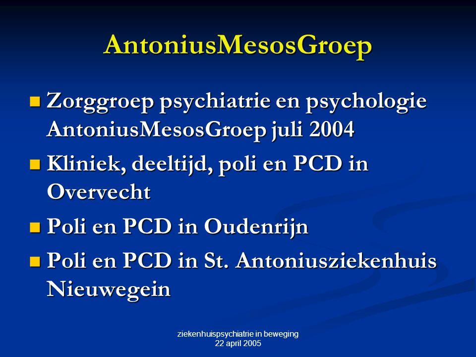 AntoniusMesosGroep Zorggroep psychiatrie en psychologie AntoniusMesosGroep juli 2004 Zorggroep psychiatrie en psychologie AntoniusMesosGroep juli 2004