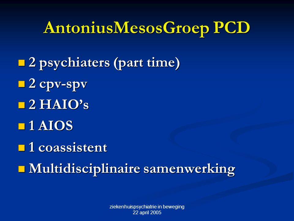 ziekenhuispsychiatrie in beweging 22 april 2005 AntoniusMesosGroep PCD 2 psychiaters (part time) 2 psychiaters (part time) 2 cpv-spv 2 cpv-spv 2 HAIO'