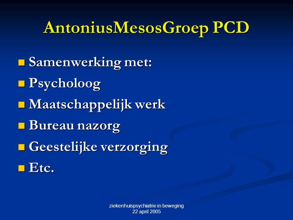 ziekenhuispsychiatrie in beweging 22 april 2005 AntoniusMesosGroep PCD Samenwerking met: Samenwerking met: Psycholoog Psycholoog Maatschappelijk werk
