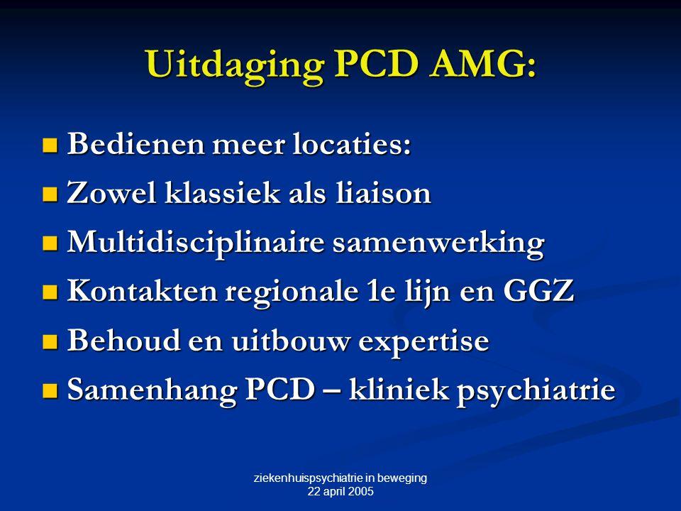 ziekenhuispsychiatrie in beweging 22 april 2005 Uitdaging PCD AMG: Bedienen meer locaties: Bedienen meer locaties: Zowel klassiek als liaison Zowel kl