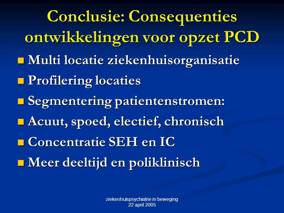 ziekenhuispsychiatrie in beweging 22 april 2005 Conclusie: Consequenties ontwikkelingen voor opzet PCD Multi locatie ziekenhuisorganisatie Multi locat