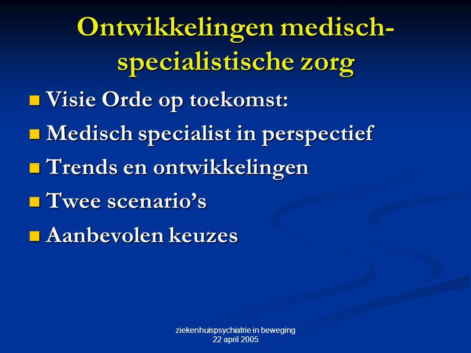 ziekenhuispsychiatrie in beweging 22 april 2005 Medisch specialist in perspectief: Specifieke trends Concentratie en deconcentratie Concentratie en deconcentratie Segmentering in 4 deelmarkten: Segmentering in 4 deelmarkten: