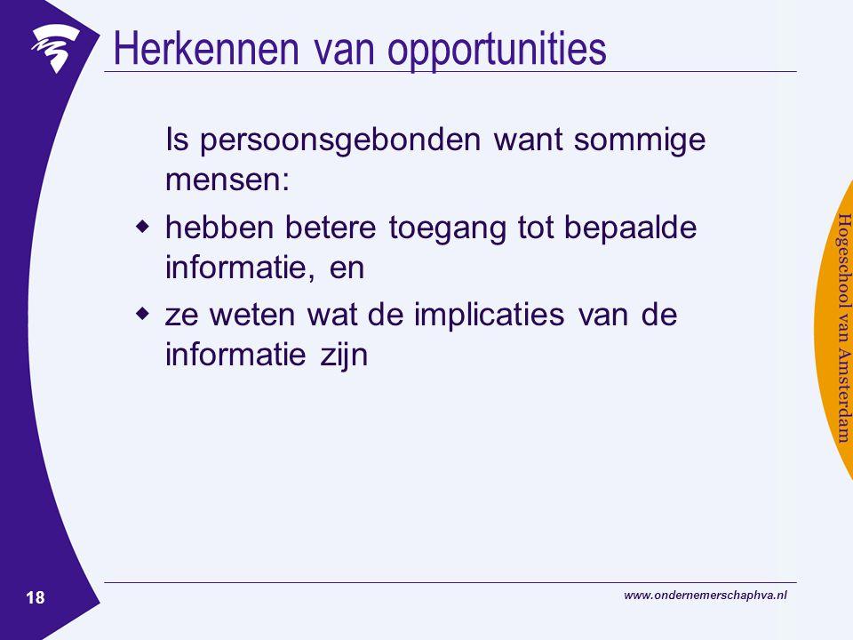 www.ondernemerschaphva.nl 18 Herkennen van opportunities Is persoonsgebonden want sommige mensen:  hebben betere toegang tot bepaalde informatie, en  ze weten wat de implicaties van de informatie zijn