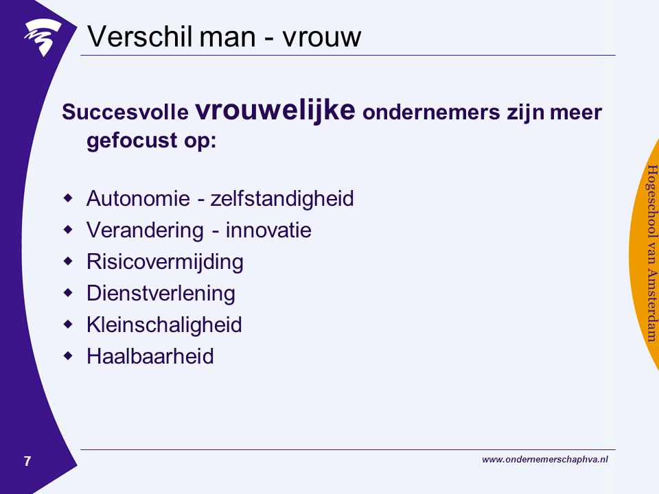 www.ondernemerschaphva.nl 7 Verschil man - vrouw Succesvolle vrouwelijke ondernemers zijn meer gefocust op:  Autonomie - zelfstandigheid  Verandering - innovatie  Risicovermijding  Dienstverlening  Kleinschaligheid  Haalbaarheid
